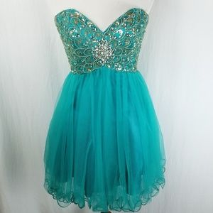 Camille La Vie Teal Jeweled Tull Short Party Dress